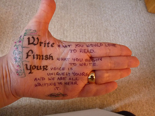 Writers Handwrite Their Writing Advice on Their Hands